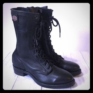 Harley Davidson Black Leather Boots Size 8